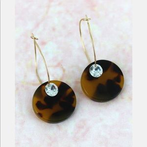 Jewelry - TORTOISESHELL DISK WITH CRYSTAL HOOP EARRINGS